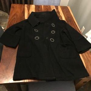 LAL Black 3/4 Sleeve Pea Coat